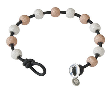 Wrap Bracelet - Black with Silver & Rose Gold