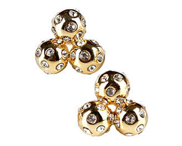 Earings - Crystal Cluster Studs - Gold