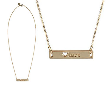 Necklace - ID LOVE necklace with Heart cutout - Gold